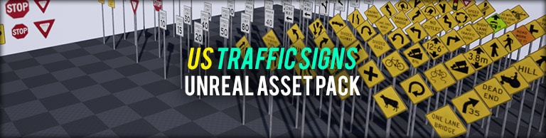 US Traffic Signs Vol. 1 Unreal Engine Asset Pack - Bild